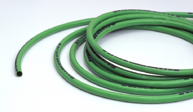 Click to enlarge - Polyester reinforced polyurethane hose with a nylon liner and polyurethane cover. Strong and durable yet light in weight and flexible. Four layer high integrity co-extruded construction. Paint and solvent resistant. This hose is non-conductive.