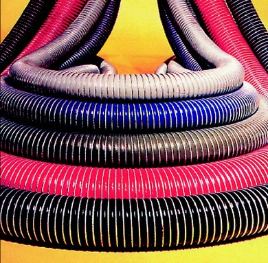 Click to enlarge - Hose designed to convey aggressive chemicals made up of PTFE/polypropylene layers supported by a double wire helix. Swaged ends.