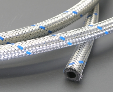Click to enlarge - Synthetic rubber tube with a single textile braid over which a steel wire braid is laid. Very flexible and used for lubrication, oil and fuel lines. This hose is often used with the TCH range of fittings.