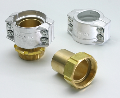 Click to enlarge - Smooth tail re-usable safety clamp couplings. Couplings in brass or stainless steel and clamped onto hose by means of an aluminium clamp. These couplings are made to DIN 14 420-5.