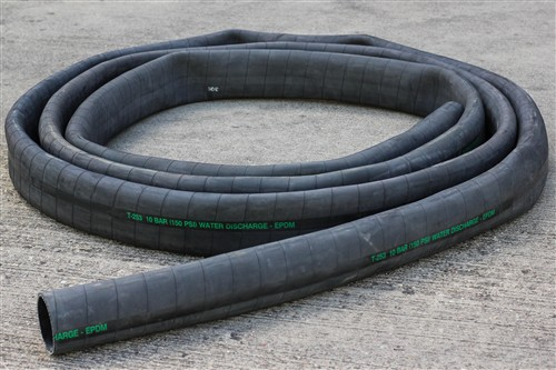 Click to enlarge - Medium to heavy weight rubber layflat type water hose for general low to medium pressure water pumping duty. Can also be used for pumping dilute chemicals. Can be used with swaged or re-useable end fittings.