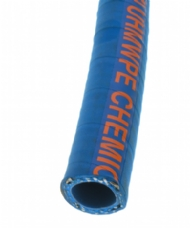 Click to enlarge - Blue EPDM cover abrasion resistant hose with a UHMWPE liner. Resists 98% of all known chemicals and is also suitable for the transfer of foodstuffs. This hose is designed for use with aggressive media and yet offers good handling properties.