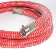 Click to enlarge - Composite hose built by using thermoplastic layers supported internally and externally by a galvanized and aluminium wire helix. Tough, yet lightweight hose for transport of hydrocarbons etc. Ends are swaged for maximum integrity.