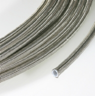 Click to enlarge - Extruded smooth bore PTFE hose reinforced by a stainless steel overbraid. Designed for use with most industrial gases, chemicals, adhesives, steam, etc. Offers good flexibility and high working temperatures.
